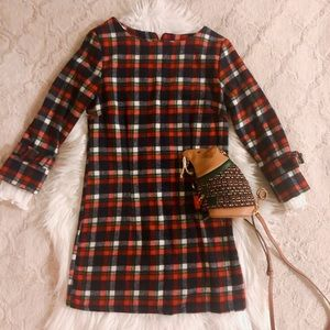 Wool blend navy and red plaid winter dress